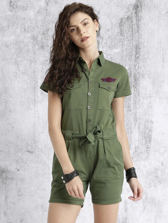 124aa155d85 Buy Roadster Women Olive Green Rompers - Jumpsuit for Women 1787827 ...