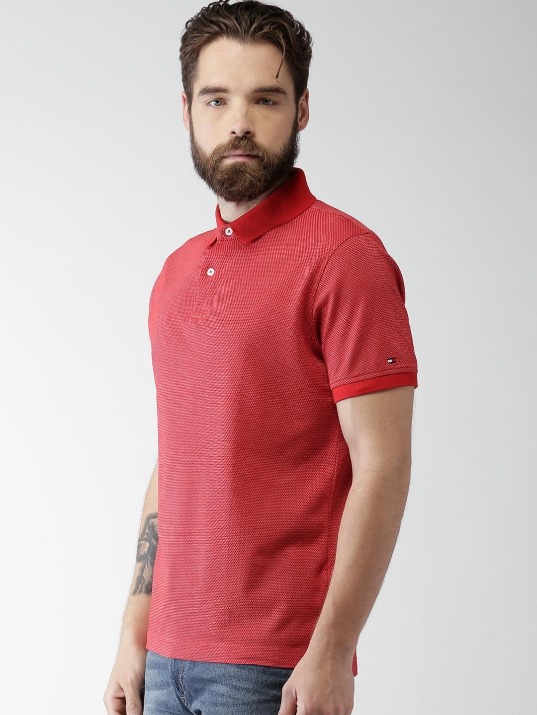 d9c54807d Buy Tommy Hilfiger Men Red Self Design Slim Fit Polo T Shirt ...