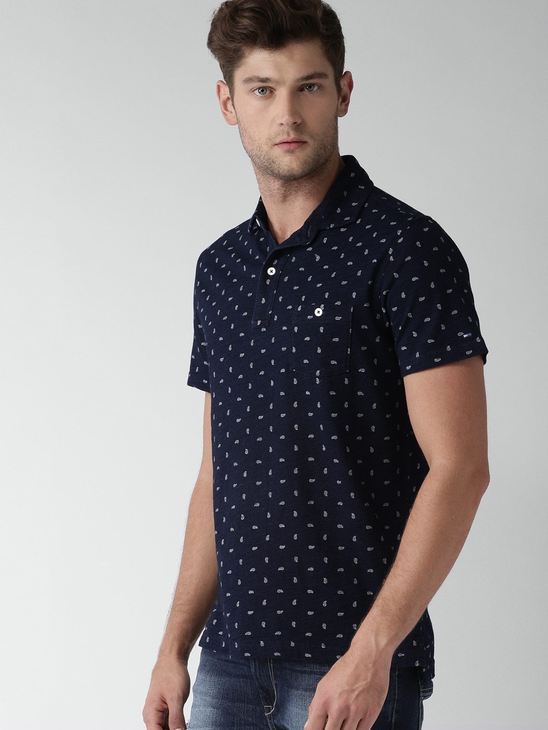 bb676cdc Buy Tommy Hilfiger Men Navy Printed Polo T Shirt - Tshirts for Men ...