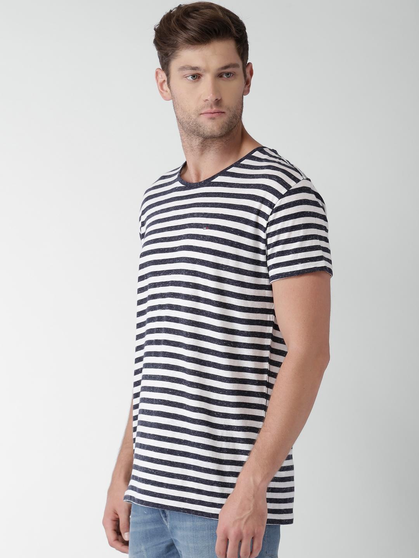 0edbf552 Buy Tommy Hilfiger Men Navy & White Striped Round Neck T Shirt ...