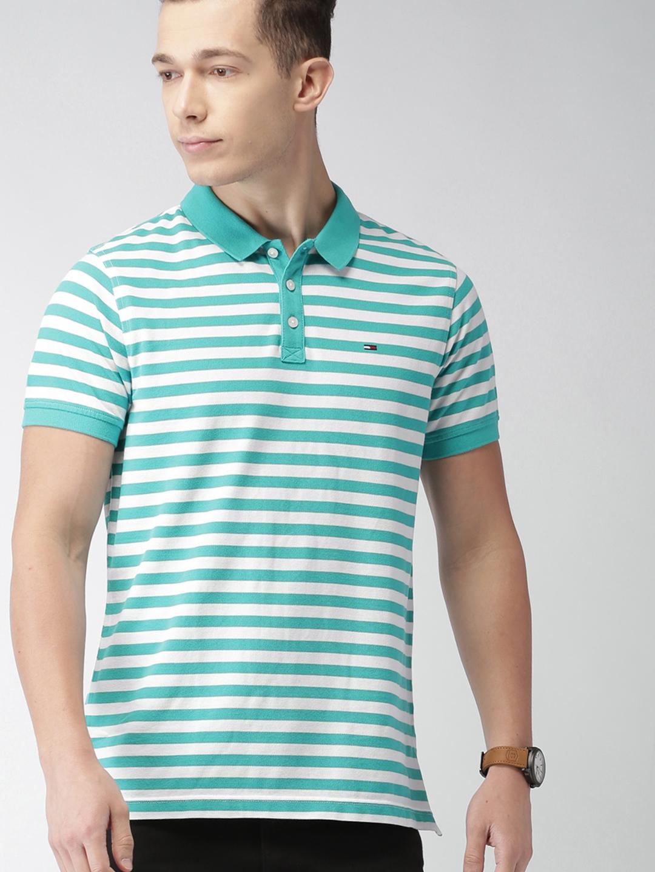 225757a6b Buy Tommy Hilfiger Men White & Sea Green Striped Polo T Shirt ...
