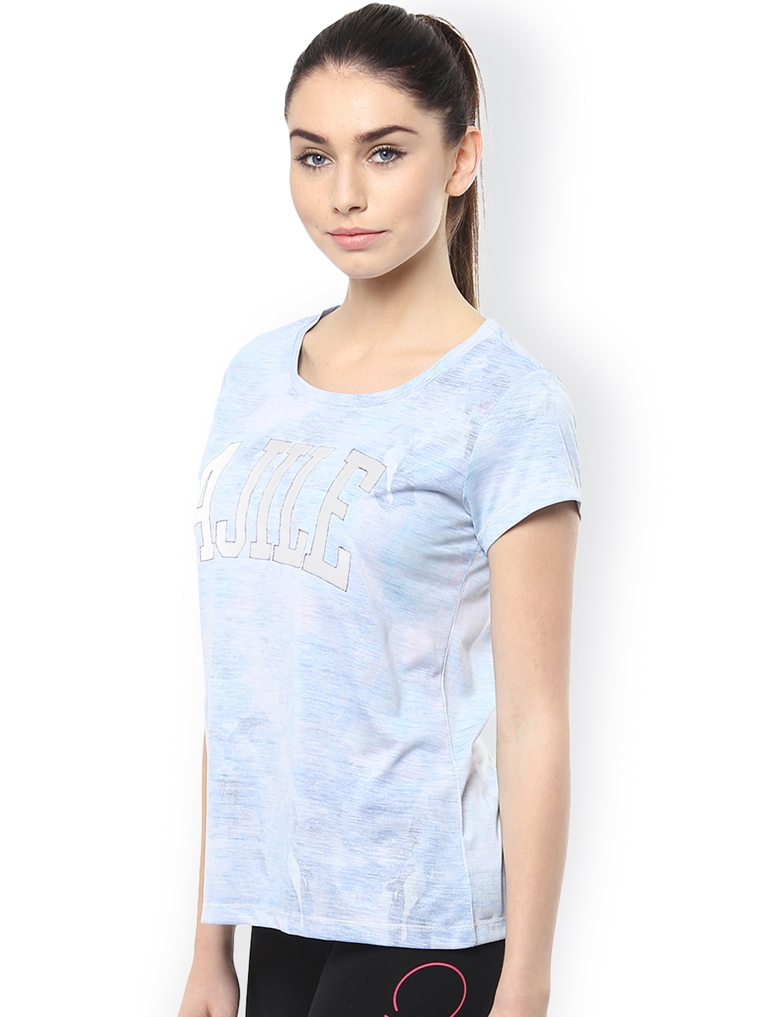 ad04c1fbd0c Buy Ajile By Pantaloons Women Blue Printed Round Neck T Shirt ...