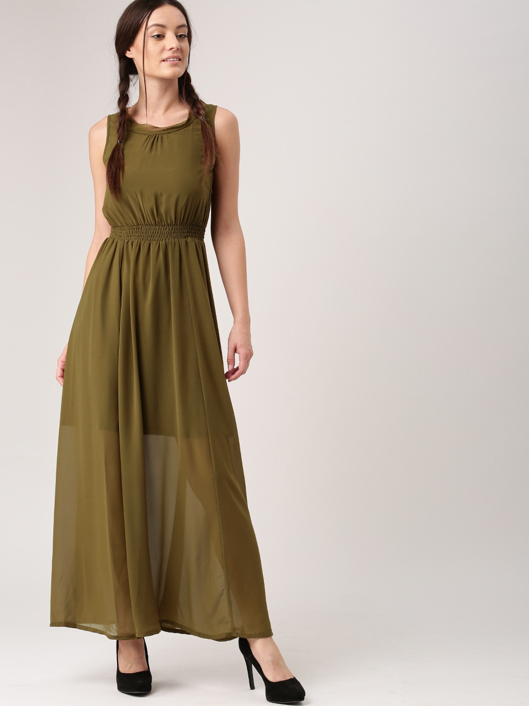Buy Dressberry Women Olive Green Solid Maxi Dress Dresses For