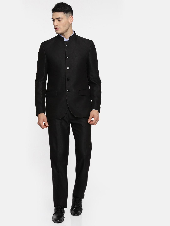 30c6e72cace Buy Raymond Men Black Contemporary Fit Bandhgala Suit - Suits for ...