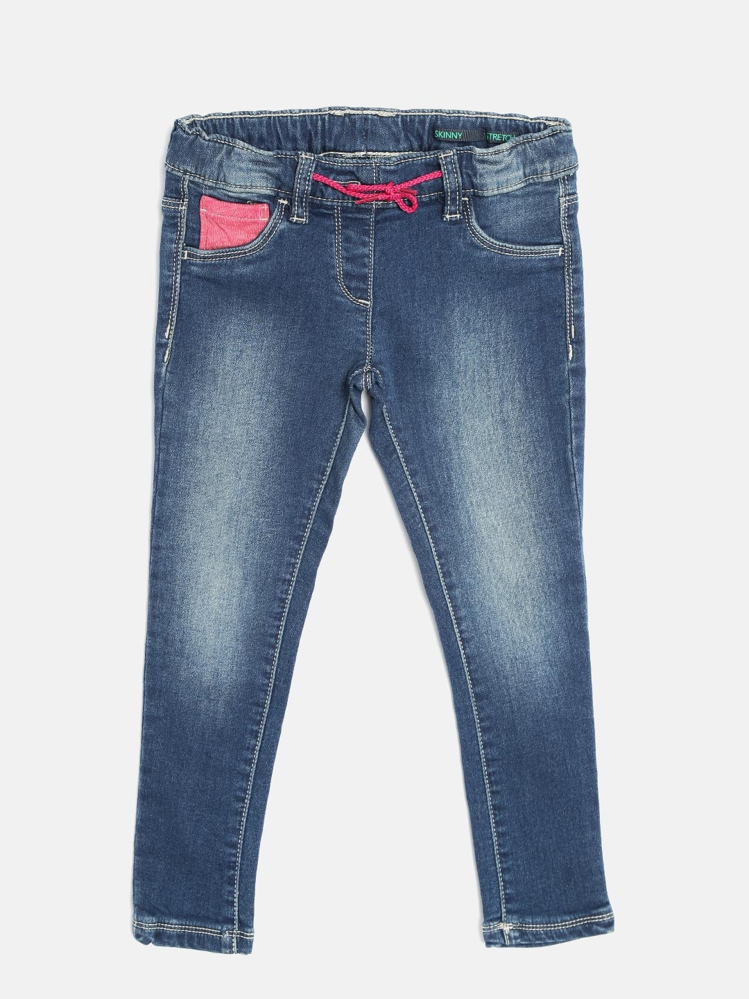 United Colors of Benetton Girls Navy Skinny Fit Stretchable Jeans