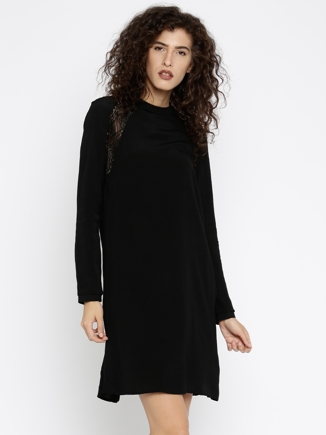 a9bc8d8bc20 Buy Vero Moda Women Black Solid Sheer A Line Dress With Lace Inserts ...