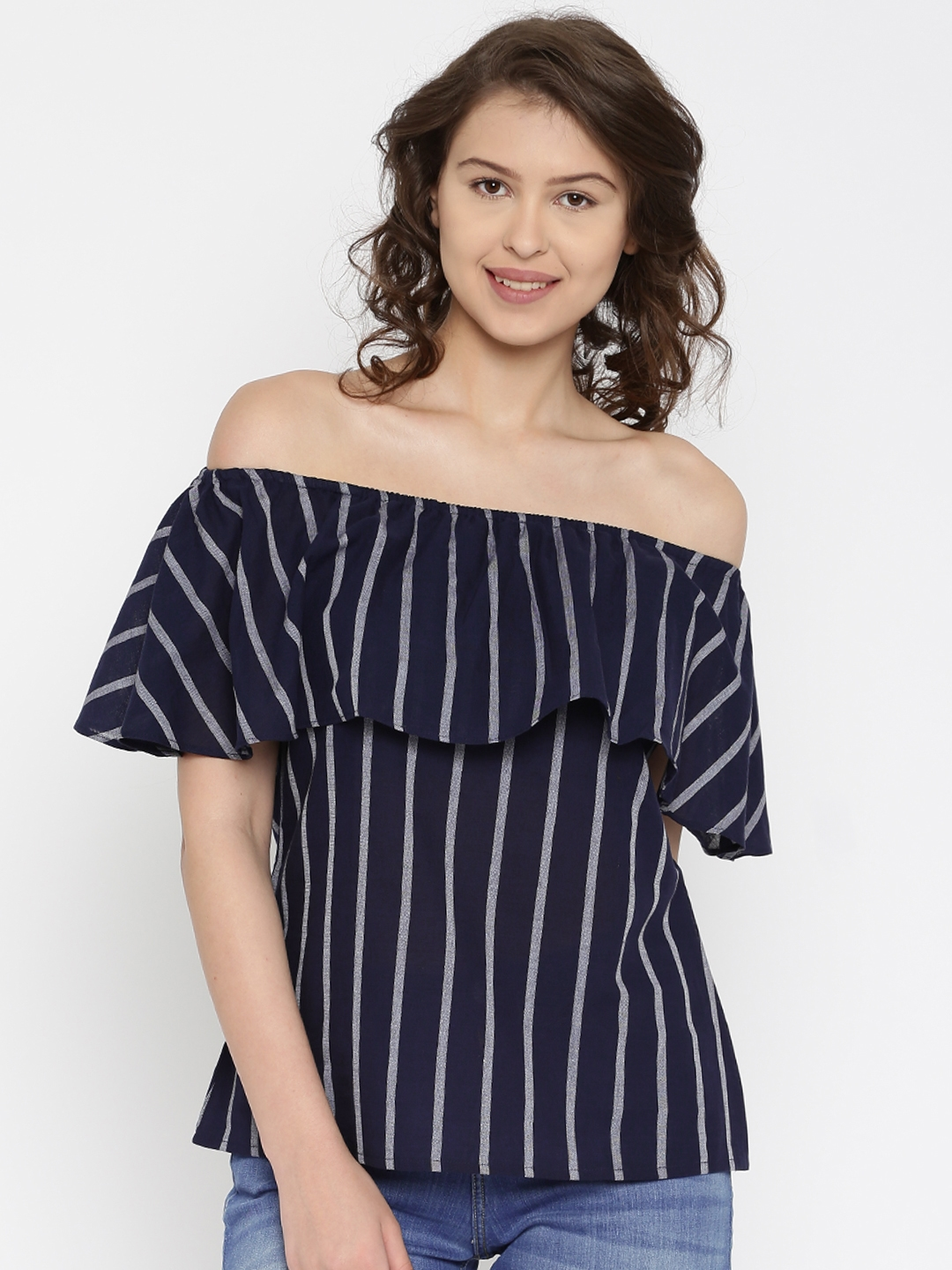 357ac127c35452 Buy AND Women Navy & White Striped Layered Bardot Top - Tops for ...