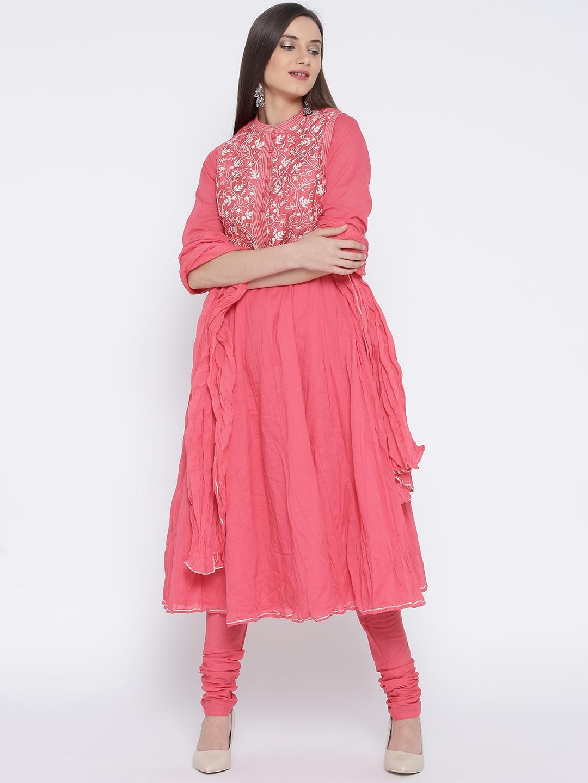 0b124537e7b Buy Biba Pink Anarkali Churidar Kurta With Dupatta   Ethnic Jacket ...
