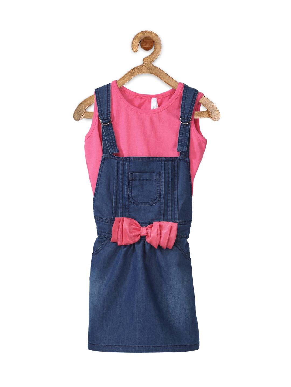db9adb745 Buy StyleStone Girls Blue Denim Dungaree Dress With A T Shirt ...