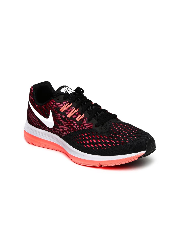 8a9c56723ea6 Buy Nike Women Black   Pink ZOOM WINFLO 4 Running Shoes - Sports ...