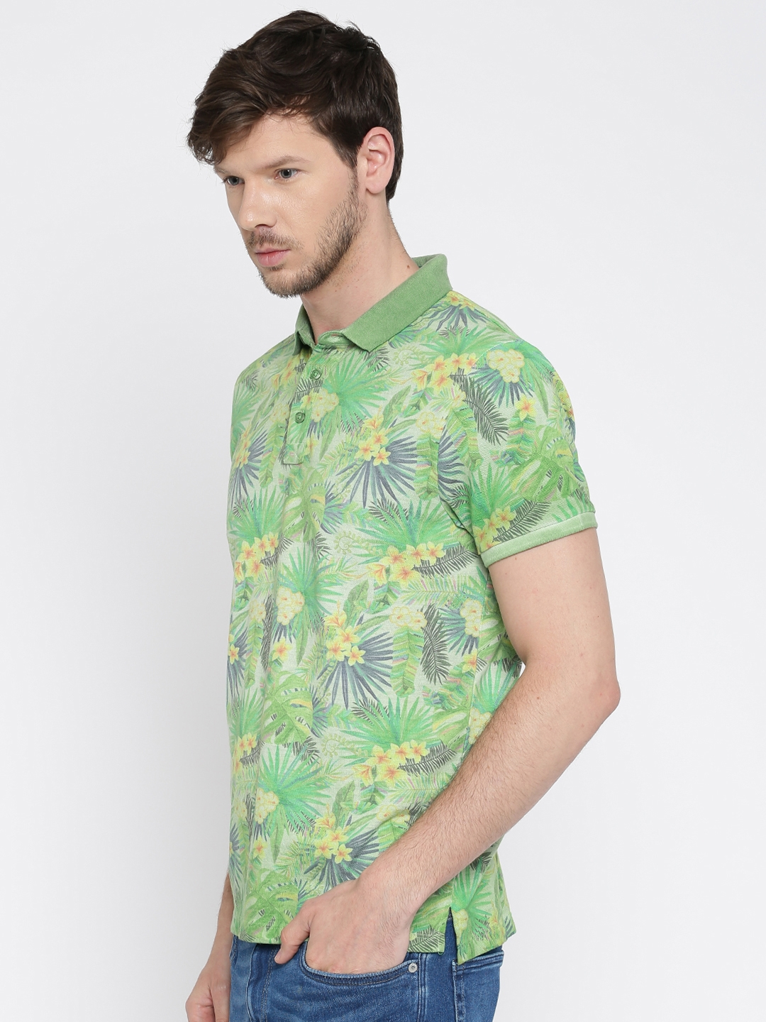 0d4364bd Buy Jack & Jones Men Green Tropical Print Polo Collar T Shirt ...
