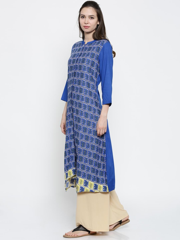 b657d44653c Buy AKKRITI BY PANTALOONS Women Blue Printed A Line Kurta - Kurtas ...