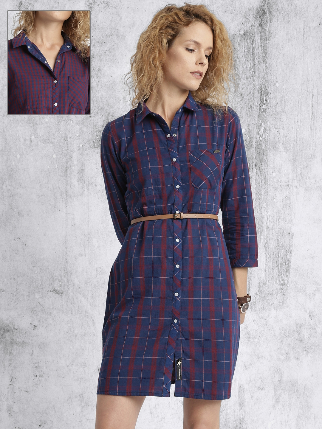 ae4e40da3bb5 Buy Roadster Women Navy Blue   Maroon Reversible Checked Shirt Dress ...