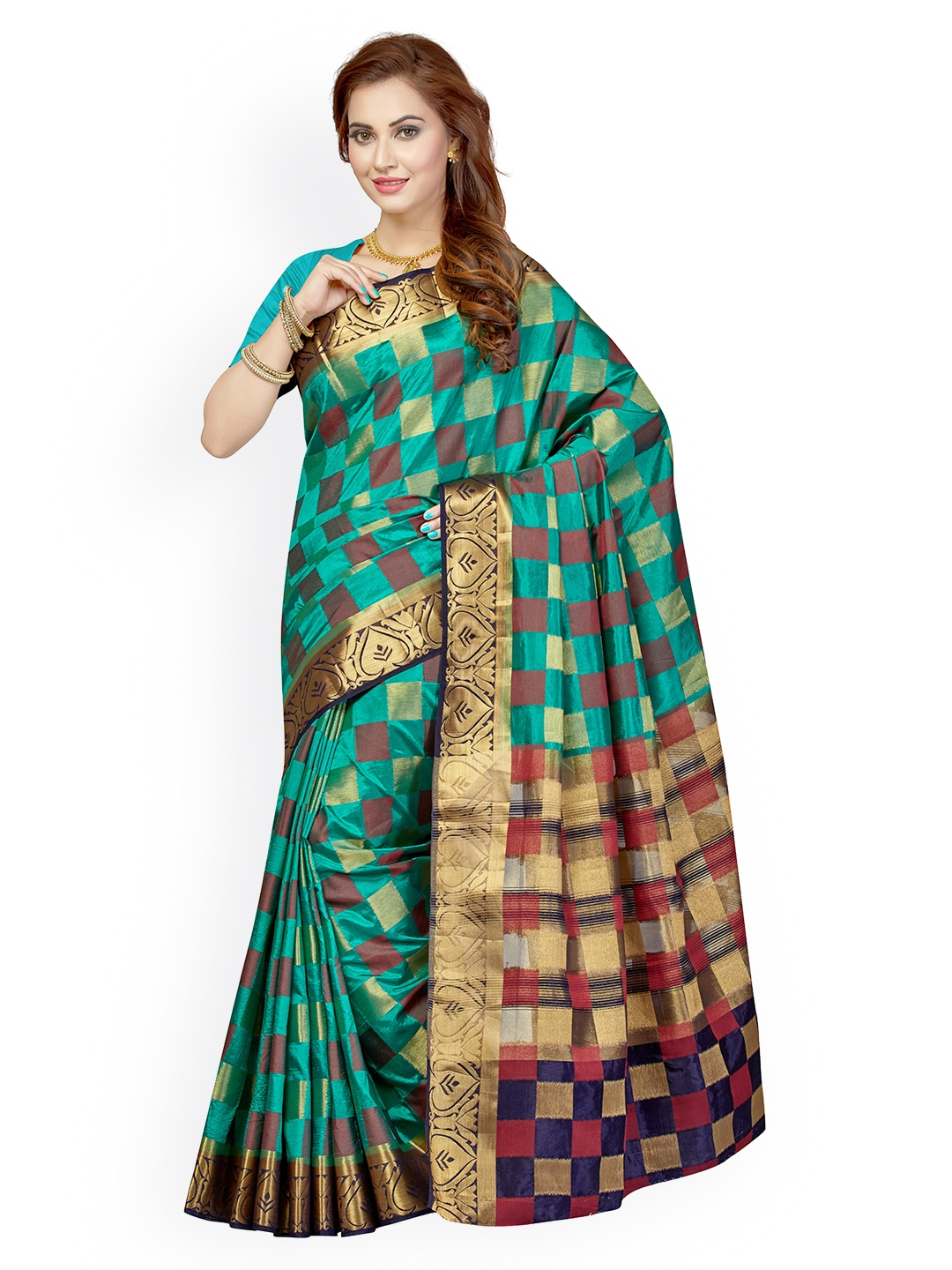 7d9ce044e Buy Ishin Green   Brown Checked Poly Silk Traditional Saree - Sarees ...