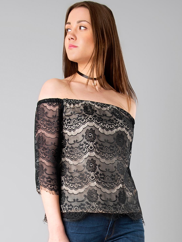 0709f6b6d20e8 Buy FabAlley Black Lace Bardot Top - Tops for Women 1805038