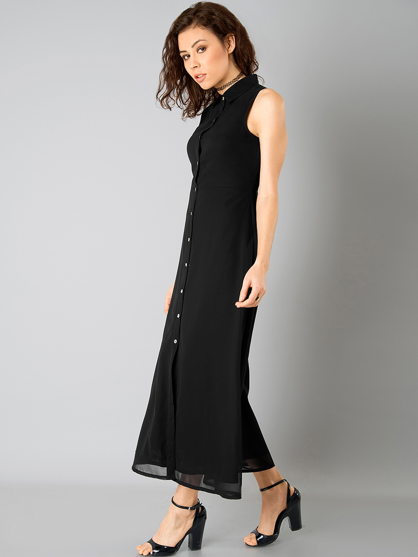 fa5cb2fcdee5 Buy FabAlley Women Black Semi Sheer Shirt Dress - Dresses for Women ...