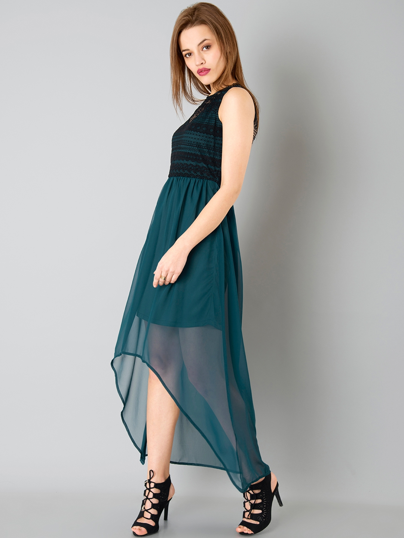 5a629025b97 Buy FabAlley Women Teal Green & Black Solid High Low Dress - Dresses ...
