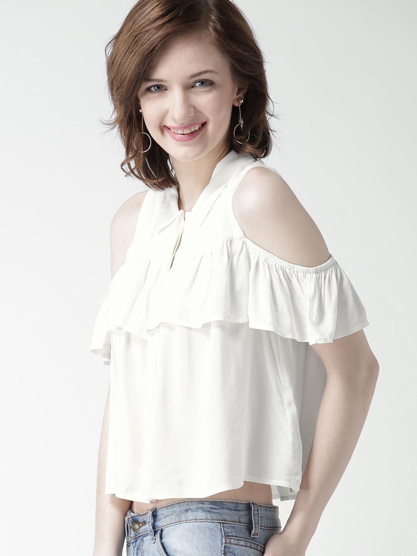 30d7d8d4f8282 Buy FOREVER 21 Women Off White Cold Shoulder Crop Shirt - Shirts for ...