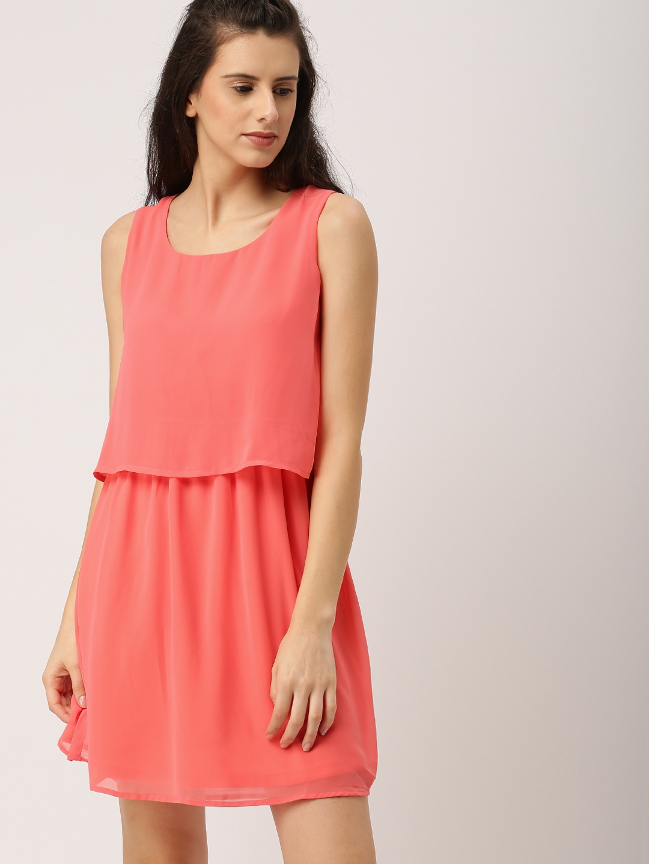aca6728f60f Ms.Taken by Kriti Sanon Women Coral Orange Solid Layered Fit   Flare Dress