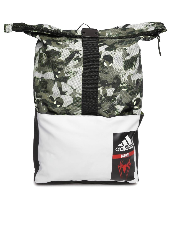 ADIDAS Marvel Kids Olive Green SM Camouflage Print Foldable Backpack 1c9c3bd52b269