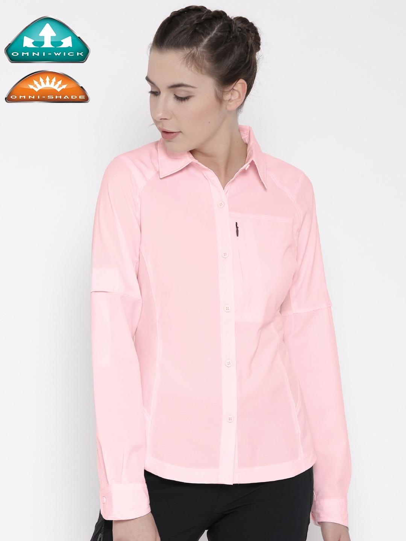 9dedbc61e92 Buy Columbia Women Pink Silver Ridge UV Protected Outdoor Hiking & Trekking  Casual Shirt - Shirts for Women 1812383 | Myntra