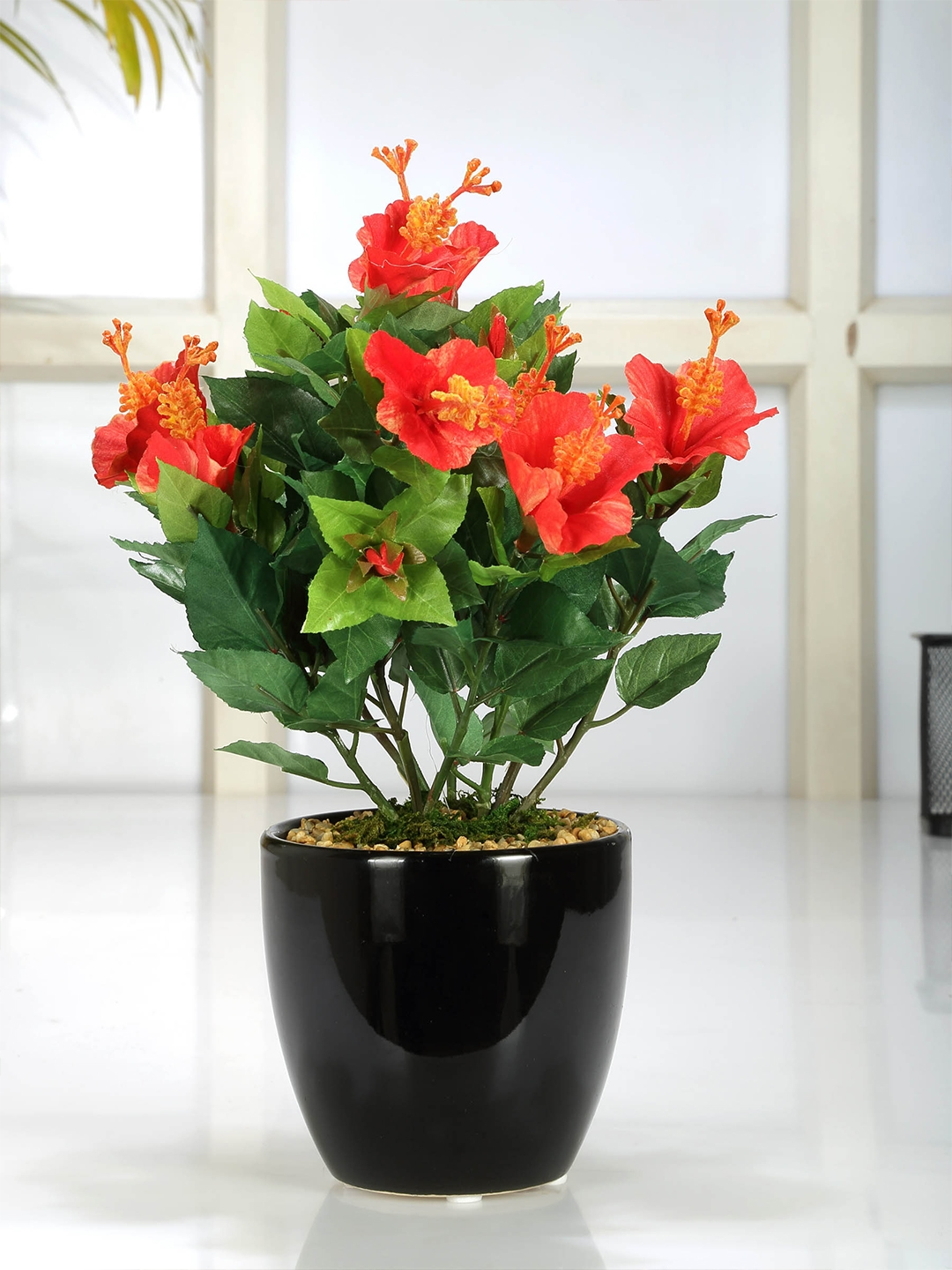Buy Fourwalls Green Red Artificial Hibiscus Flower Plant With