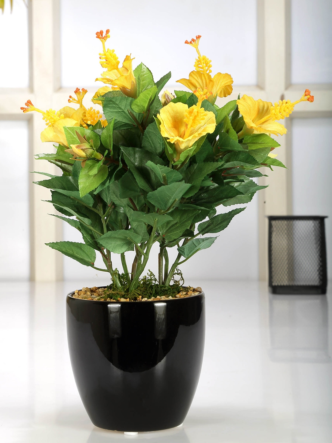 Buy Fourwalls Green Yellow Artificial Hibiscus Flower Plant With