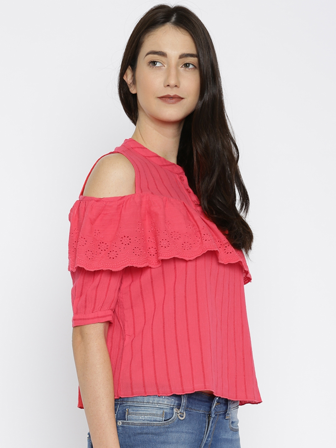 4a4fe252ef2e7 Buy ONLY Women Pink Self Striped Cold Shoulder Top - Tops for Women ...