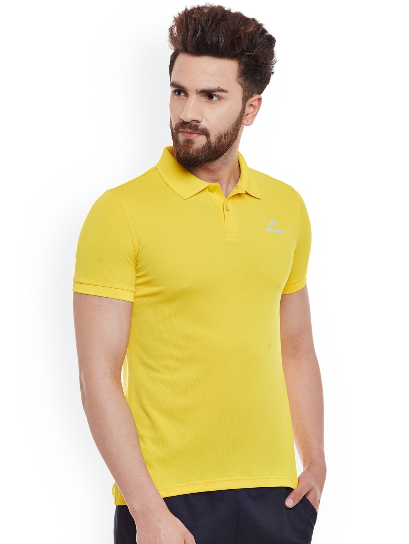 2599b843 Buy Alcis Men Yellow Solid Slim Fit Sports Polo T Shirt - Tshirts ...