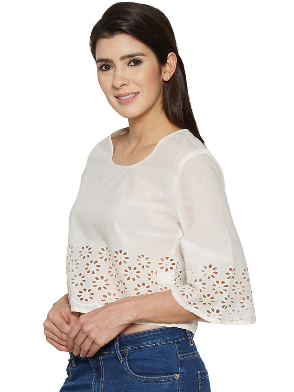 1aa4feebacf4c0 Buy Globus Women Off White Schiffli Crop Top - Tops for Women ...