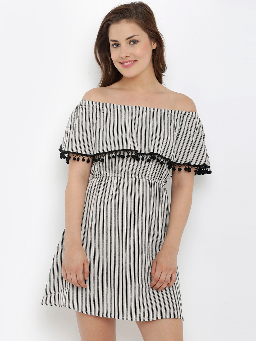 d6c4fbbb5326 Buy 20Dresses Women White   Black Striped Off Shoulder Fit   Flare ...