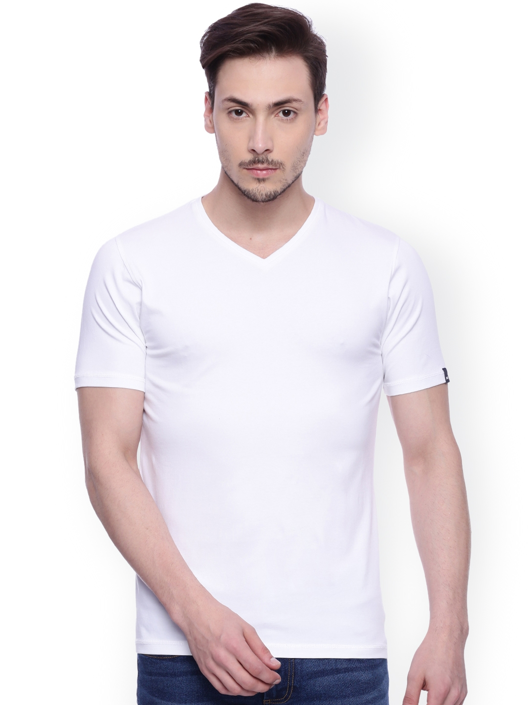 5ab71962 Buy Basics Men White Solid V Neck Muscle Slim Fit T Shirt - Tshirts ...