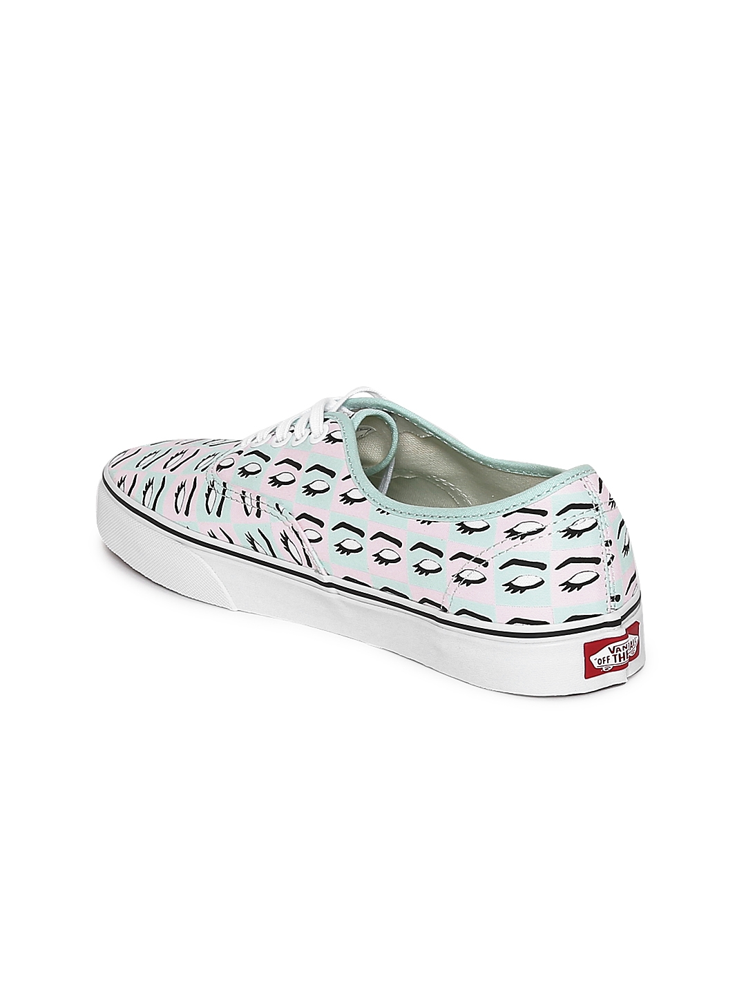 02d7fc697d Buy Vans Unisex Mint Green   Pink Printed Authentic Sneakers ...