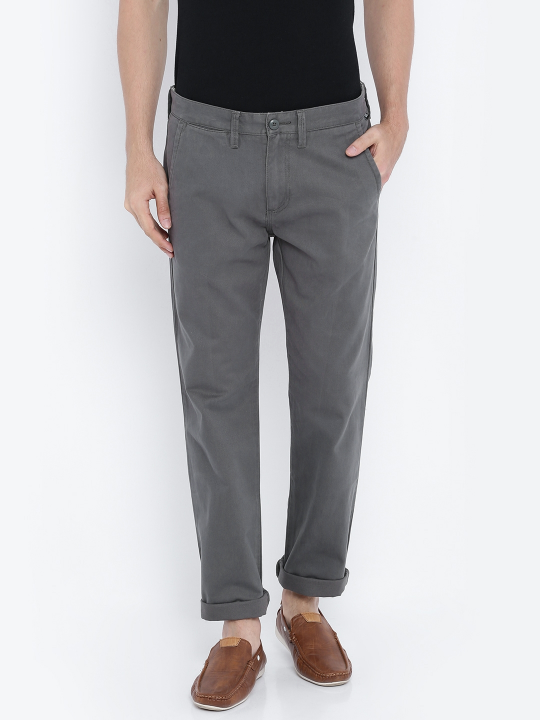 782a40794a7b Buy Vans Men Grey Chino Trousers - Trousers for Men 1817353