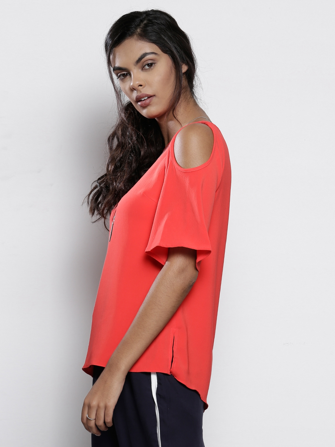 102409b3f05350 Buy DOROTHY PERKINS Women Coral Red Solid Cold Shoulder Top - Tops ...