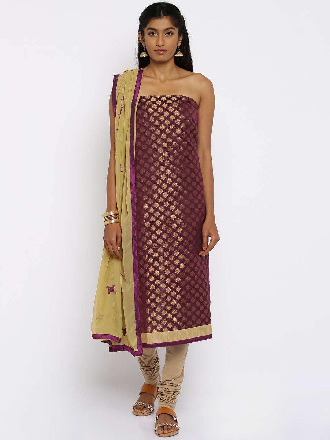 Buy Akhilam Purple & Beige Brocade Unstitched Dress Material - Dress  Material for Women 1819511 | Myntra