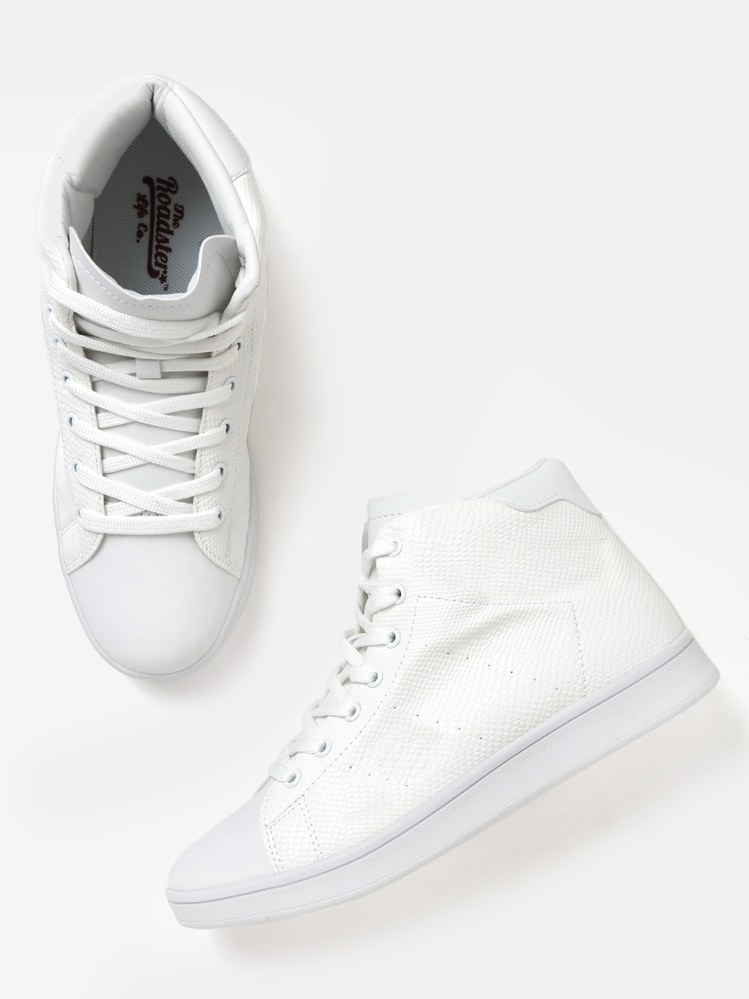 632d9512dc1 Buy Roadster Women White Textured Mid Top Sneakers - Casual Shoes ...