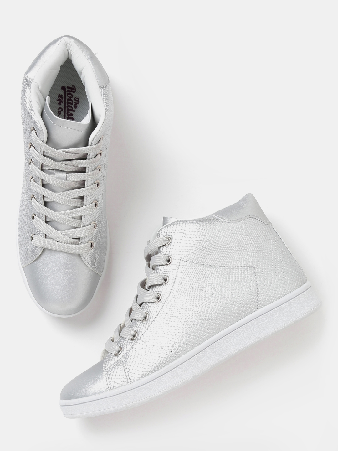6fe942ce854 Buy Roadster Women Silver Toned Textured Mid Top Sneakers - Casual ...