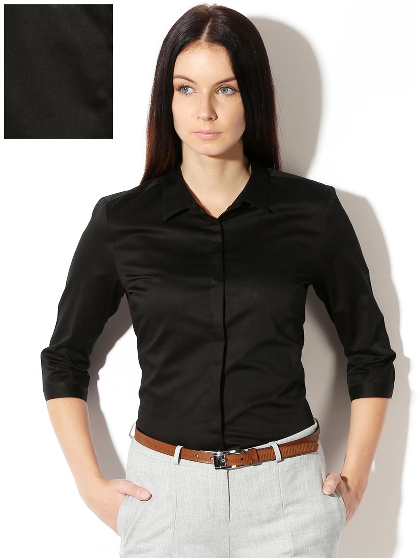 078499b344f Buy Van Heusen Woman Black Solid Formal Shirt - Shirts for Women ...