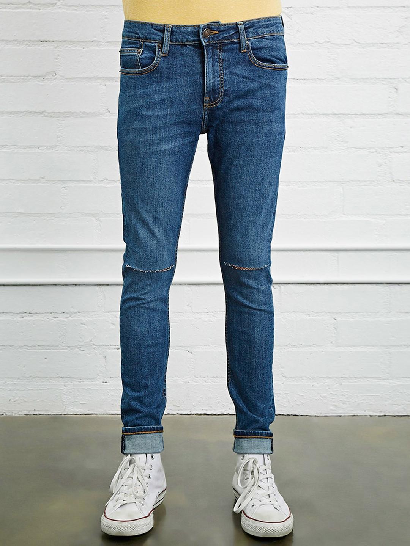 buy forever 21 men blue skinny fit low rise slash knee stretchable