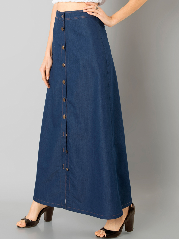 03dfd9d29e Buy FabAlley Blue Denim Maxi Skirt - Skirts for Women 1822546 | Myntra