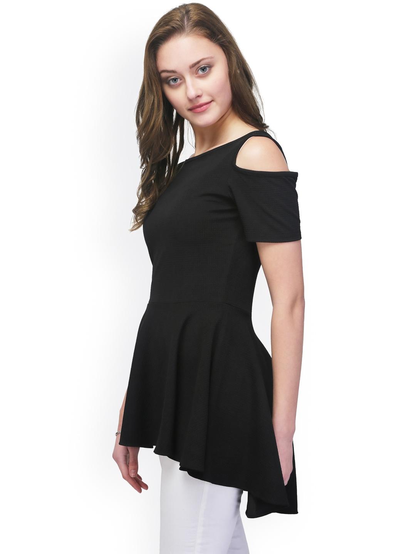 0d9fe8196ea3c Buy Eavan Black Cold Shoulder Peplum Top - Tops for Women 1822638 ...