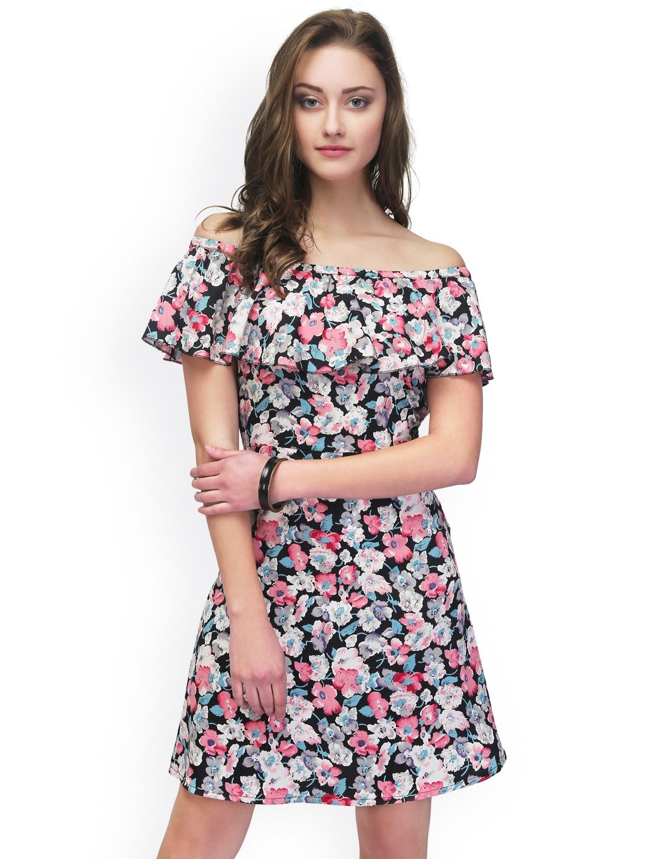 5a1eeff7073a Buy Eavan Women Multicoloured Printed Off Shoulder Dress - Dresses ...