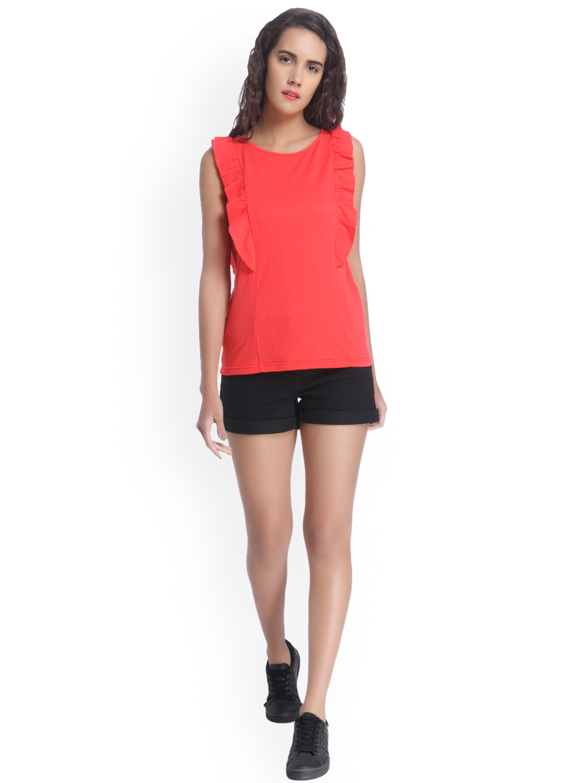 Vero Moda Women Red Self Design Regular Sleeveless Top