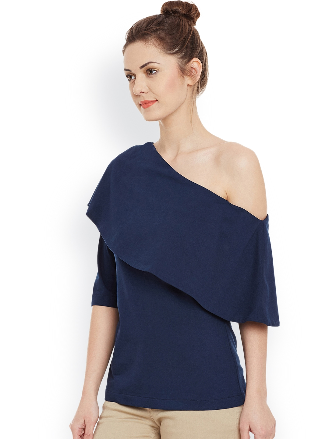 084628bed01083 Buy Miss Chase Navy One Shoulder Top - Tops for Women 1823188