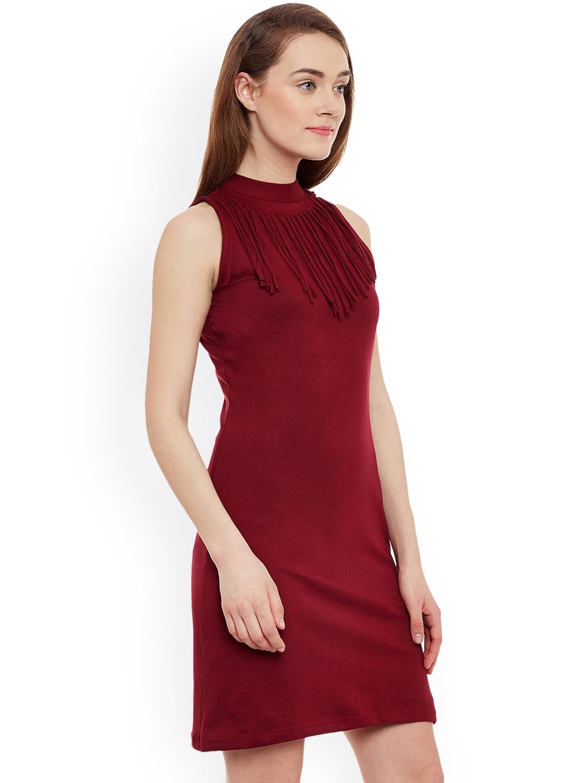 Buy Miss Chase Women Maroon Bodycon Dress - Dresses for Women ... e59ef49e0a