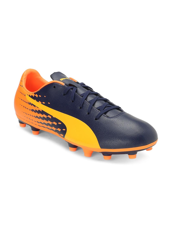 Puma Men Navy   Orange Printed evoSPEED 17.5 Football Shoes