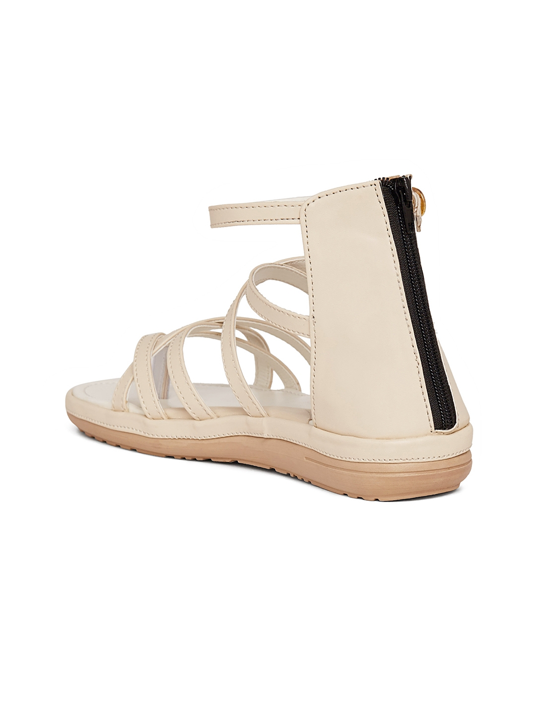 e93d5a20914 Buy Marc Loire Women Cream Solid Gladiators - Flats for Women ...