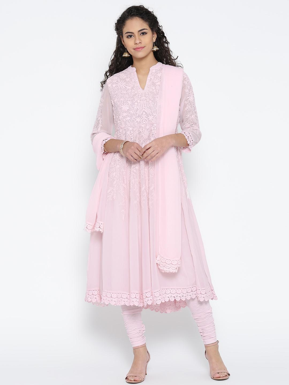 90a89d8890b Buy Biba Pink Embroidered Anarkali Churidar Kurta With Dupatta ...