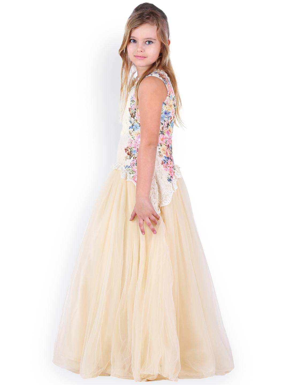 fb236e3eb6bc Buy CUTECUMBER Girls Cream Coloured Lace Maxi Dress - Dresses for ...